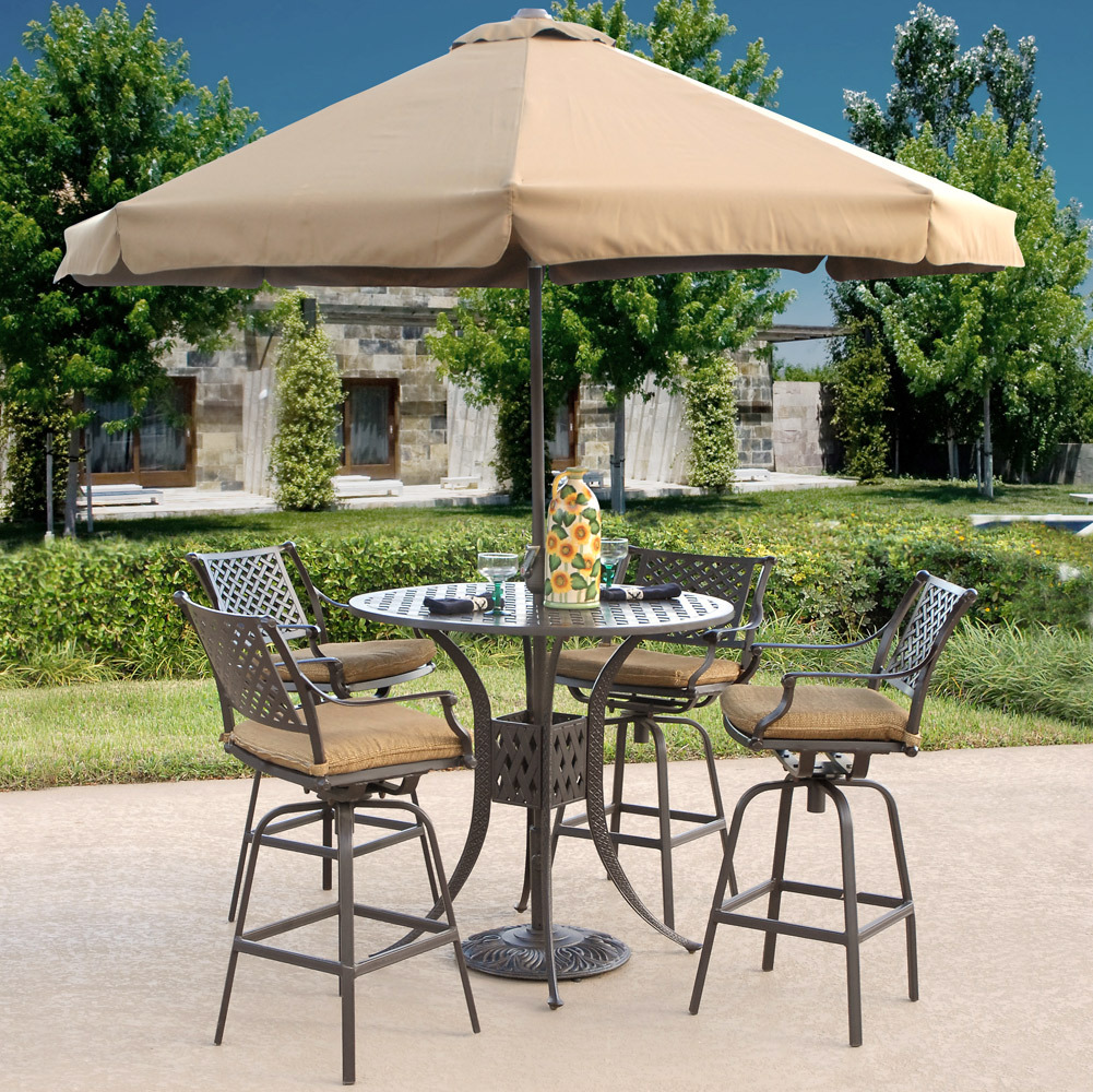 High Top Patio Table Set With Umbrella Royals Courage
