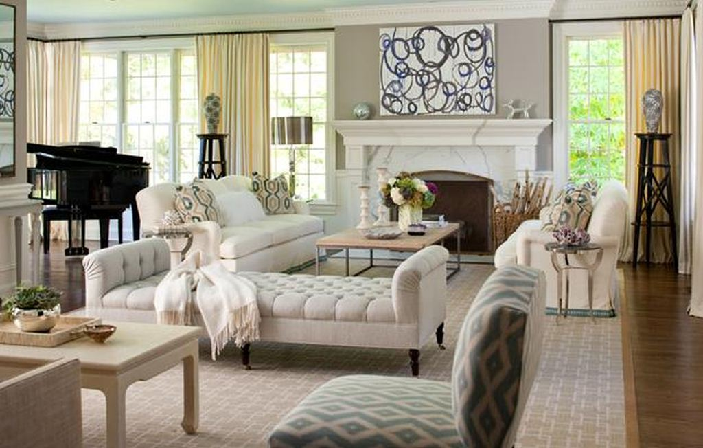 Living Room White Upholstered Bench