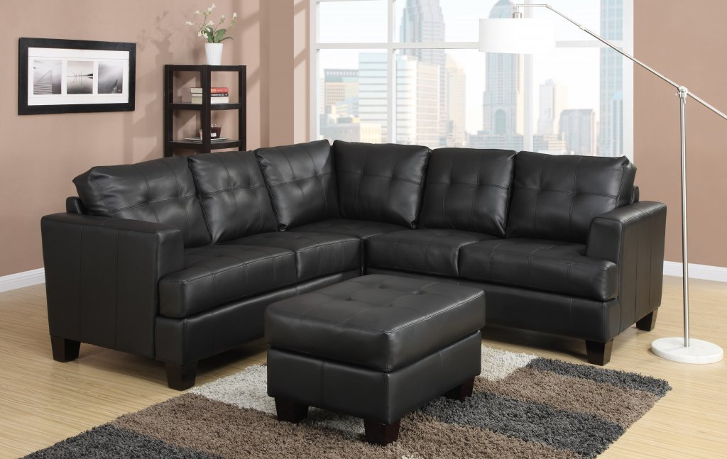 Tufted Leather Corner Sectional