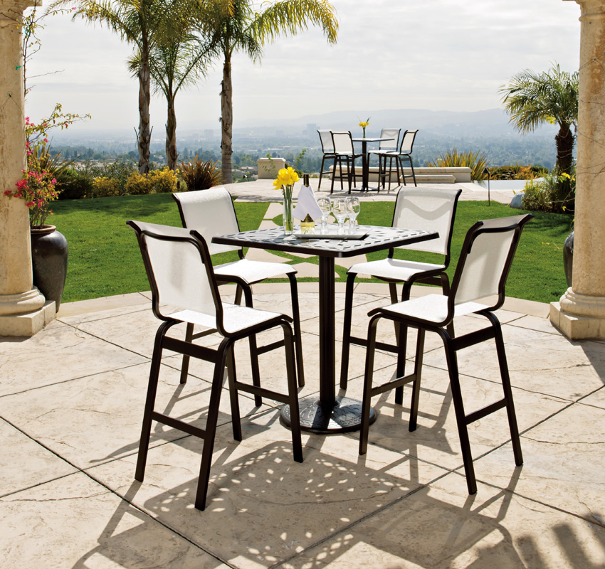 Wrought Iron High Top Patio Table Set