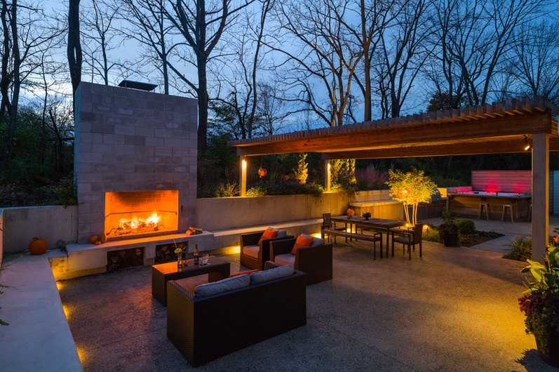 Modern Outdoor Fireplace And Enchanted Royals Courage