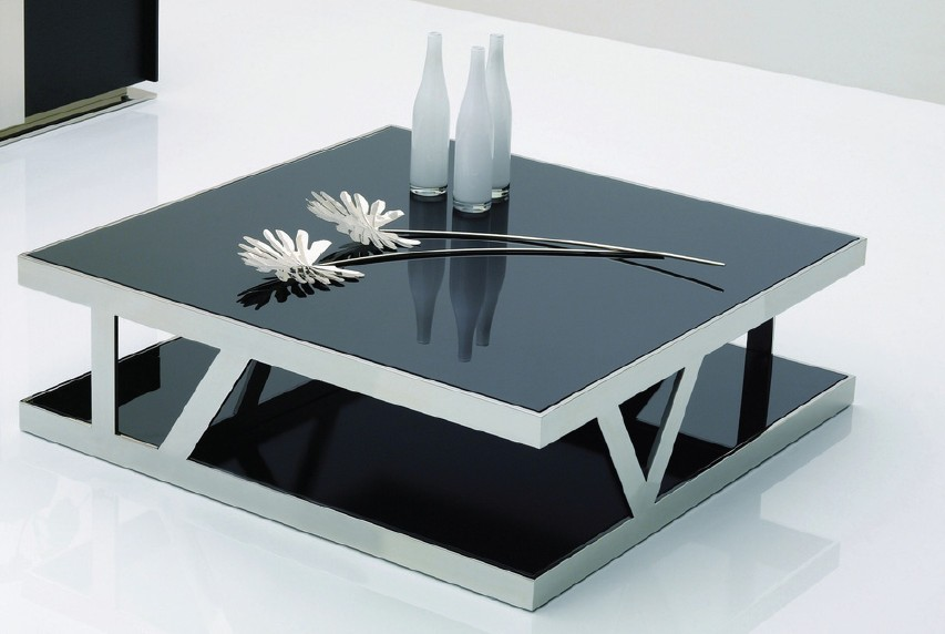 Glass Coffee Table Black Royals Courage Square Glass Coffee