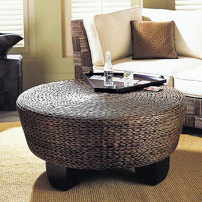 Intdoor Wicker Coffee Table With Gl