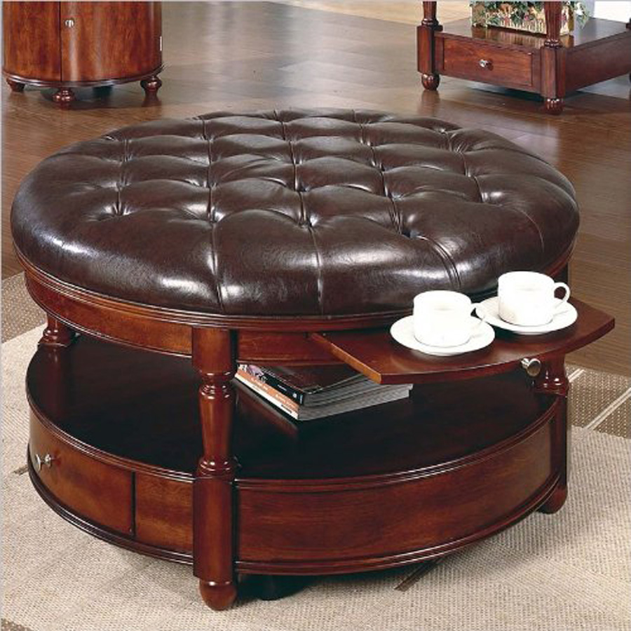 - Ottoman Coffee Table Royals Courage : Black Leather Ottoman In