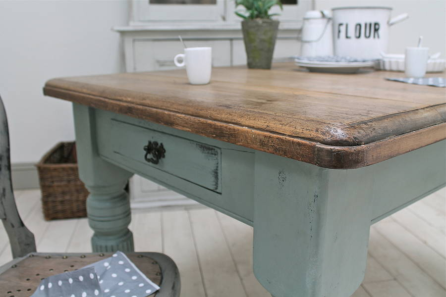 Vintage Wood Kitchen Table Royals Courage Cleansing