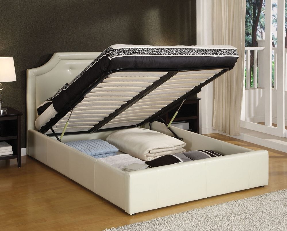 White Fabric Bed Frame With Storage